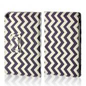 Purple/ White Zig Zag Faux Leather Case w/ Stand for Universal 7&quot; Tablets (Like iPad Mini or Nexus 7)
