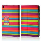 Rainbow Stripes Faux Leather Case w/ Stand for Universal 7&quot; Tablets (Like iPad Mini or Nexus 7)