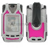 Motorola V8 Cyber Case - Hot Pink w/ Silver Trim