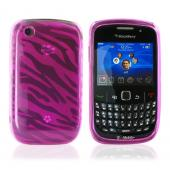 Blackberry Curve 3G 9330, 9300, 8520, 8530 Crystal Silicone Case - Zebra Print on Transparent Hot Pink
