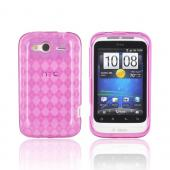 T-Mobile HTC Wildfire S Crystal Silicone Case - Argyle Hot Pink