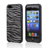 Apple iPhone 5 Crystal Silicone Case - Black/ White Zebra