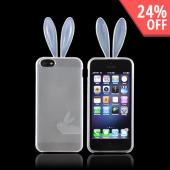 Apple iPhone 5 Crystal Silicone Case w/ Bunny Ears - Clear
