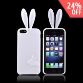 Apple iPhone 5 Crystal Silicone Case w/ Bunny Ears - White