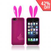Apple iPhone 5 Crystal Silicone Case w/ Bunny Ears - Hot Pink