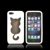 Apple iPhone 5 Crystal Silicone Case - White w/ Cat Imprint