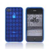 Apple iPhone 4 Crystal Silicone Case, Rubber Skin - Argyle Print Transparent Blue