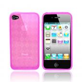 Apple iPhone 4 Crystal Silicone Case, Rubber Skin - Argyle Print Transparent Pink