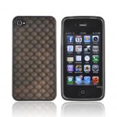 AT&amp;T/ Verizon Apple iPhone 4, iPhone 4S Crystal Silicone Case - Black 3D Cubes