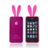 AT&amp;T/ Verizon Apple iPhone 4, iPhone 4S Crystal Silicone Case w/ Bunny Ears - Hot Pink