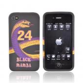 AT&T/ Verizon Apple iPhone 4, iPhone 4S Crystal Silicone Case – Black Mamba Purple/ Gold Snake on Black