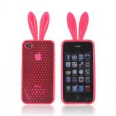 AT&T/ Verizon Apple iPhone 4, iPhone 4S Crystal Silicone Case w/ Bunny Ears - Neon Pink
