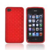 AT&amp;T/ Verizon Apple iPhone 4, iPhone 4S Crystal Silicone Case - Red 3D Cubes
