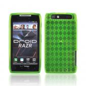 Motorola Droid RAZR Crystal Silicone Case - Argyle Neon Green
