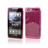 Motorola Droid RAZR Crystal Silicone Case - Argyle Hot Pink