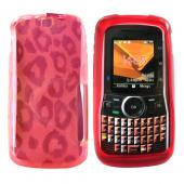 Motorola Clutch I465 Crystal Gel Silicone Case - Leopard Print on Transparent Red
