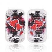 Motorola Clutch+ i475 Crystal Silicone Case - Red Hearts & Flowers on Frost White