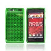 Motorola Droid RAZR MAXX Crystal Silicone Case - Argyle Green