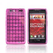 Motorola Droid RAZR MAXX Crystal Silicone Case - Argyle Pink