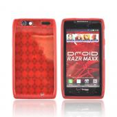 Motorola Droid RAZR MAXX Crystal Silicone Case - Argyle Red