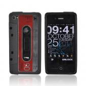 AT&T/ Verizon iPhone 4, iPhone 4S Crystal Silicone Cassette Tape Design - Black/ Red