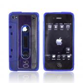 AT&amp;T/ Verizon Apple iPhone 4, iPhone 4S Crystal Silicone Cassette Tape Design Case - Transparent Blue