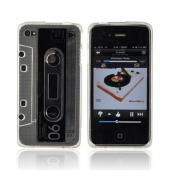 AT&amp;T/ Verizon Apple iPhone 4, iPhone 4S Crystal Silicone Cassette Tape Design - Transparent Clear