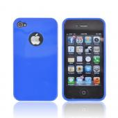 AT&amp;T/ Verizon Apple iPhone 4, iPhone 4S Crystal Silicone Case - Blue w/ Metal Flake