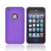 AT&amp;T/ Verizon Apple iPhone 4, iPhone 4S Crystal Silicone Case - Purple w/ Metal Flake