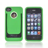 AT&amp;T/ Verizon Apple iPhone 4, iPhone 4S Crystal Silicone Case w/ Money Clip/ ID Holder - Green/ Lime Green