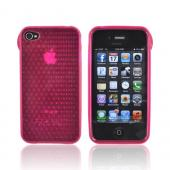 AT&amp;T/ Verizon Apple iPhone 4, iPhone 4S Crystal Silicone Case - Hexagonal Magenta