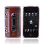 AT&amp;T/ Verizon iPhone 4, iPhone 4S Crystal Silicone Cassette Tape Design - Transparent Pink
