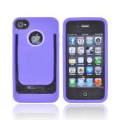 AT&amp;T/ Verizon Apple iPhone 4, iPhone 4S Crystal Silicone Case w/ Money Clip/ ID Holder - Purple/ Lavender