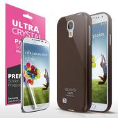 Brown Exclusive CellTo Anti-Slip TPU Crystal Silicone Case + Free Screen Protector for Samsung Galaxy S4