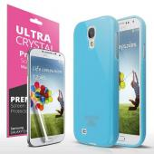 Sky Blue Exclusive CellTo Anti-Slip TPU Crystal Silicone Case + Free Screen Protector for Samsung Galaxy S4