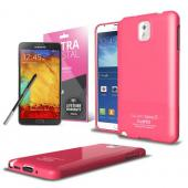 Manufacturers Hot Pink  Anti-Slip TPU Crystal Silicone Skin Case & Free Screen Protector for Samsung Galaxy Note 3 Skins