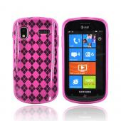 Samsung Focus i917 Crystal Silicone Case - Hot Pink Argyle