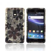 Samsung Infuse 4G i997 Crystal Silicone Case - Brown &amp; Black Daisy Flowers on Frost White