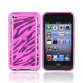 Apple iPod Touch 4 Crystal Silicone Case - Transparent Hot Pink Zebra