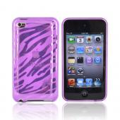 Apple iPod Touch 4 Crystal Silicone Case - Transparent Purple Zebra