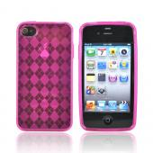 Apple Verizon/ AT&amp;T iPhone 4, iPhone 4S Crystal Silicone Case - Argyle Hot Pink