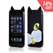 Premium Apple iPhone 5 Crystal Silicone Case w/ Pointy Ears - Black Cat