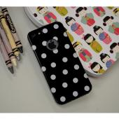 Black/ White Polka Dots Anti-Slip Dot Jelly Series Crystal Silicone Case for Apple iPhone 5