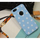Sky Blue/ White Polka Dots Anti-Slip Dot Jelly Series Crystal Silicone Case for Apple iPhone 5