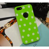 Lime Green/ White Polka Dots Anti-Slip Dot Jelly Series Crystal Silicone Case for Apple iPhone 5