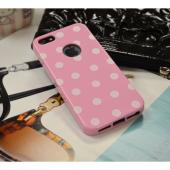 Baby Pink/ White Polka Dots Anti-Slip Dot Jelly Series Crystal Silicone Case for Apple iPhone 5