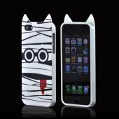 Premium Apple iPhone 5 Crystal Silicone Case w/ Pointy Ears - White Mummy