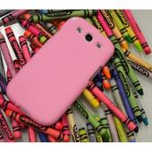 Baby Pink Super Premium Anti-Slip Crayon Series Crystal Silicone Case for Samsung Galaxy S3