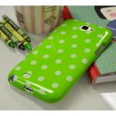 Lime Green/ White Polka Dots Anti-Slip Dot Jelly Series Crystal Silicone Case for Samsung Galaxy Note 2
