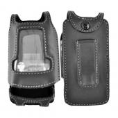 Premium Motorola Adventure V750 Leather Case w/ Swivel Leather Belt Clip - Black